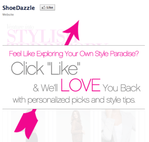 Shoedazzle Facebook page uses consistency rule of thumb to increase conversions