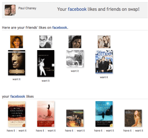 Swap.com shows what Facebook friends have to swap.