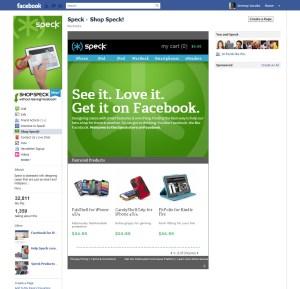 Speck fan store on Facebook page