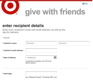 Customers enter recipient's information