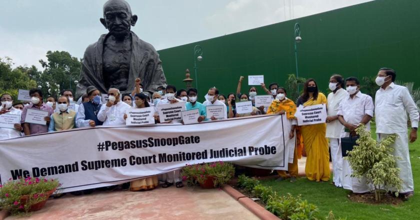 Pegasus Spyware: Congress, DMK, Shiv Sena MPs stage protest in front of Gandhi statue (Video)