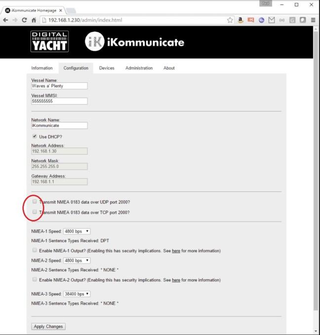 Onglet de configuration de l'interface web de l'iKommunicate