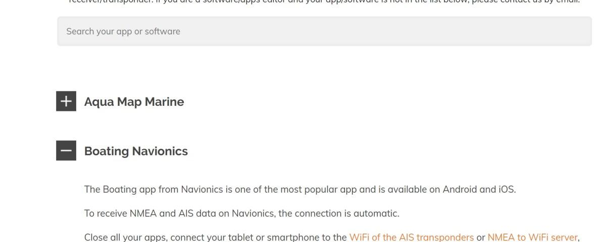 receive NMEA & AIS data on navigation apps & software