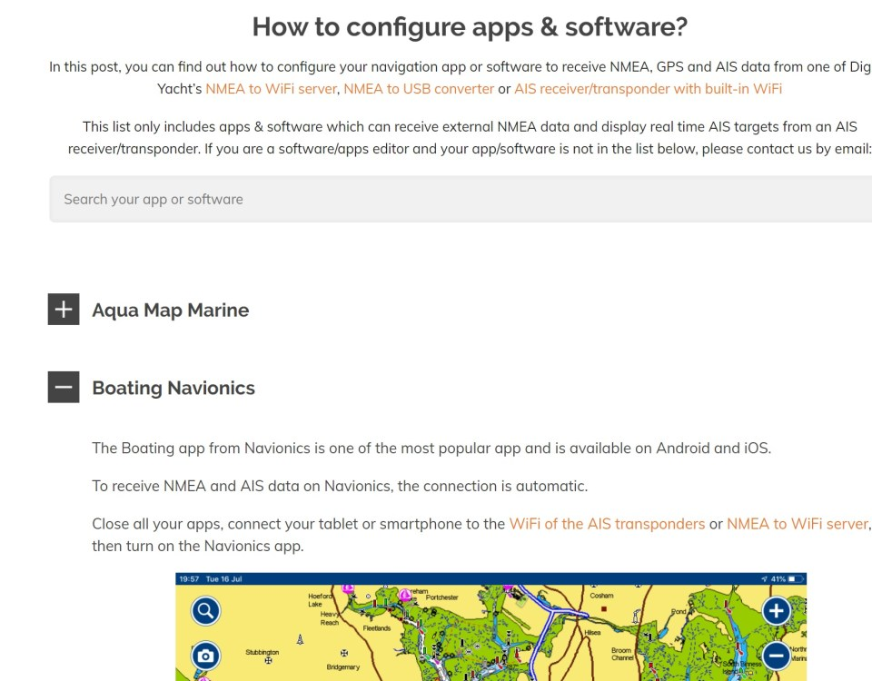 receive NMEA & AIS data on navigation apps & software