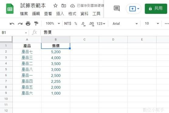 完成資料排序