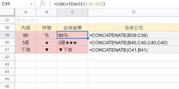 CONCATENATE合併特殊符號