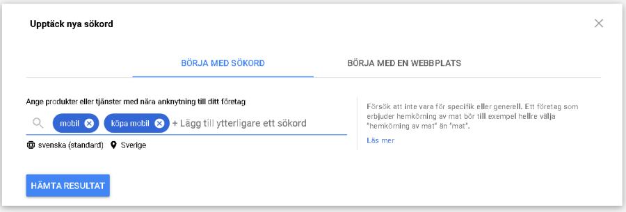 Ett exempel på hur man använder Google Keyword Planner för sin webbutik