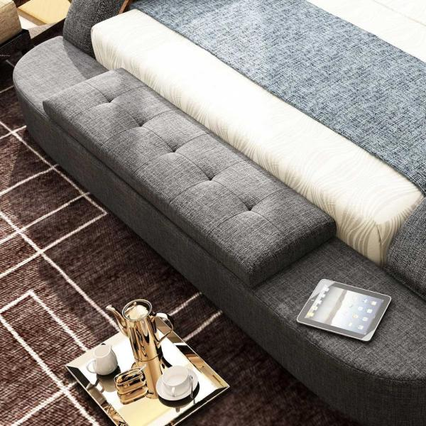 RAMA DYMASTY fabric cloth bed massage Modern Soft Beds Home Bedroom Furniture 1