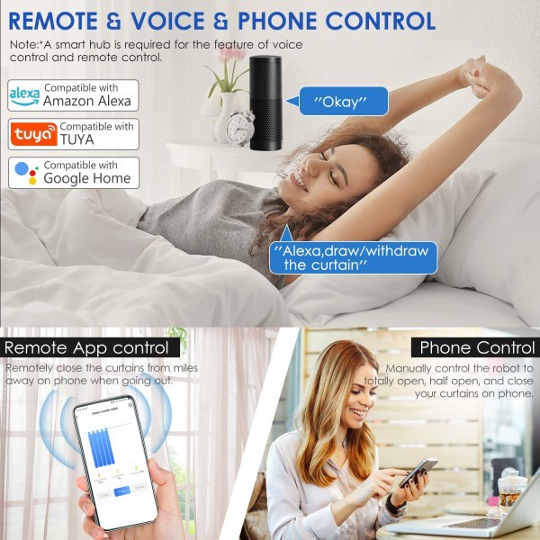 WiFi Automatic Curtain Opener Closer Robot Wireless Smart Curtain Motor Timer Voice Control Smart Home Automation 3 1