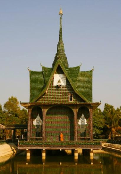 Thai Buddhist Temple Built of Beer Bottles