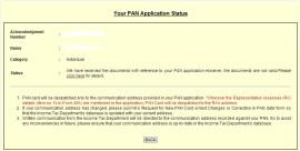 PAN Application Status