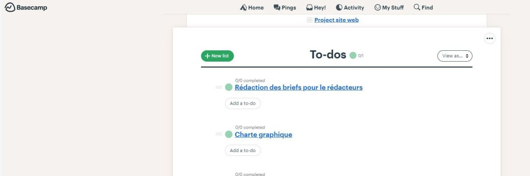Basecamp - les meilleures alternatives à MS Project