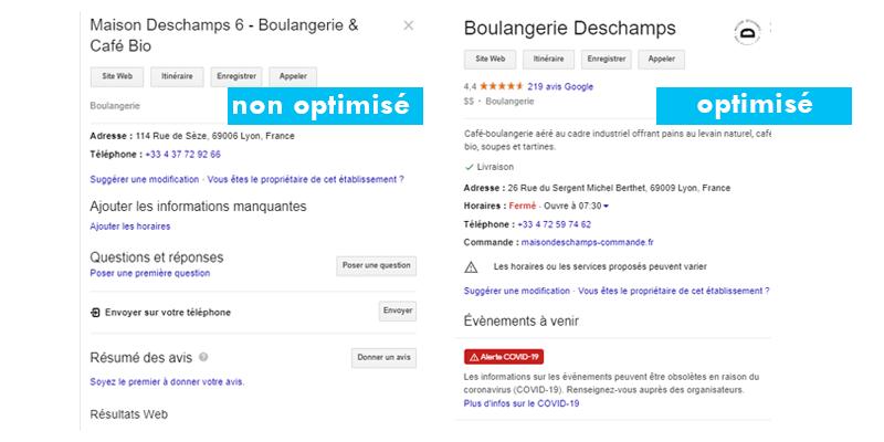 Google My Business optimisé vs non optimisé