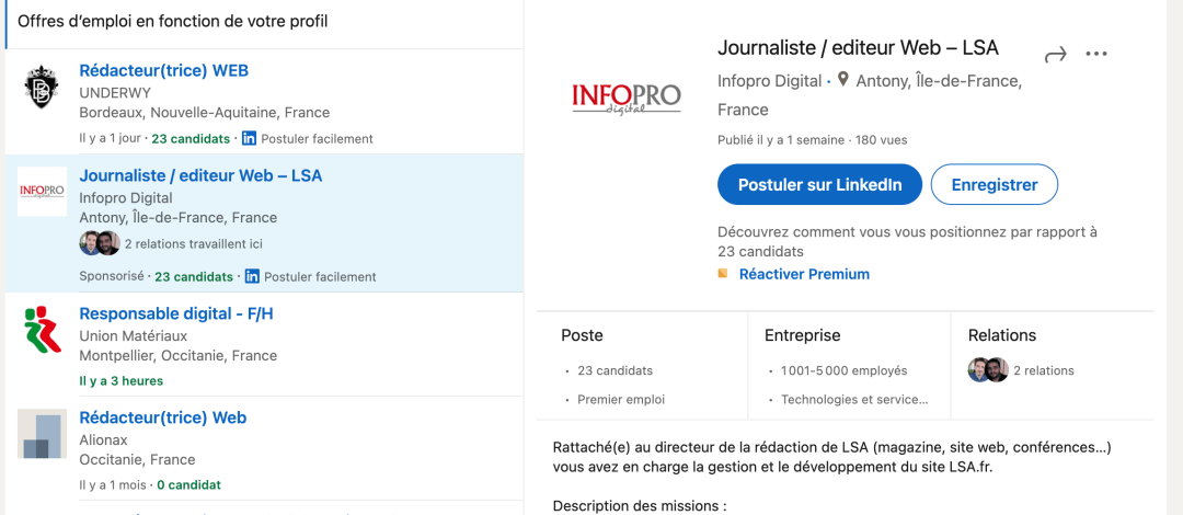 Postuler facilement LinkedIn
