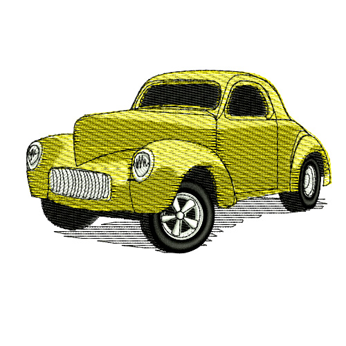 1941 Willys Willies Gasser Americar Embroidery Design