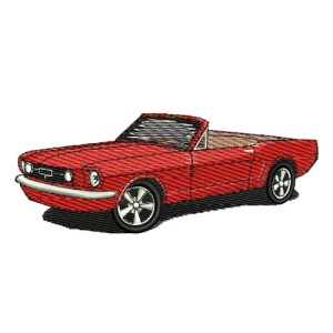 1965 Ford Mustang Convertible 65 Embroidery Design