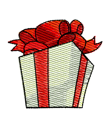 Christmas Gift Present Embroidery Design