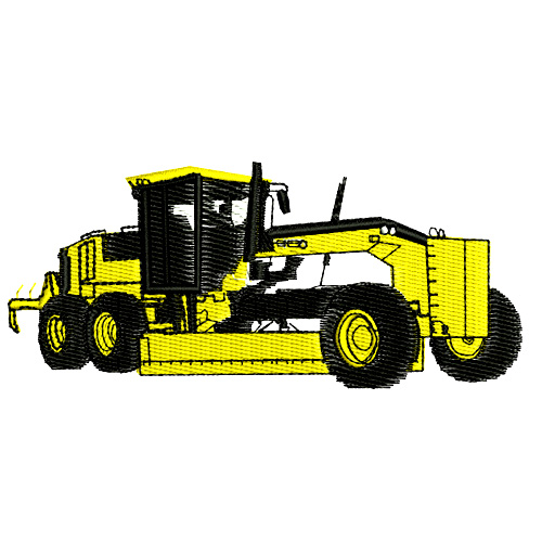 Construction Equipment Earth Mover Grader Embroidery Design