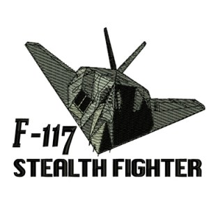 F 117 Nighthawk Stealth Fighter Military Plane Embroidery Design