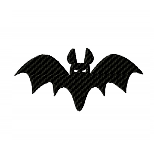 Flying Bat Silhouette Embroidery Design