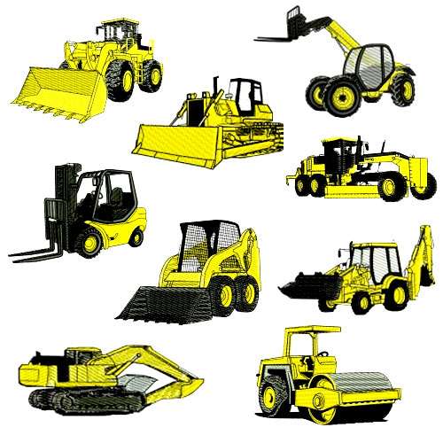 Heavy Construction Equipment Embroidery Design Discount Value Pack