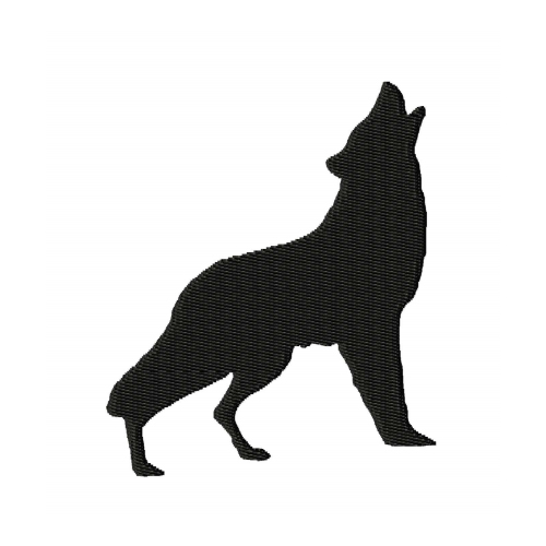 Howling Wolf Silhouette Embroidery Design 1