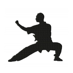 Kung Fu Fighter Silhouette Embroidery Design 2