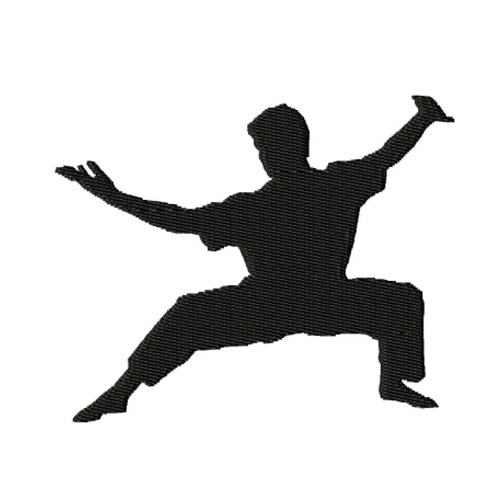 Kung Fu Fighter Silhouette Embroidery Design 3