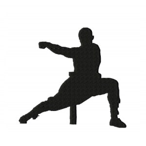 Kung Fu Fighter Silhouette Embroidery Design 4