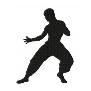 Kung Fu Fighter Silhouette Embroidery Design