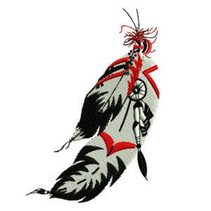 Native American Indian Feathers Western Embroidery Design