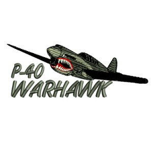 P 40 Warhawk Fighter Military Plane Embroidery Design