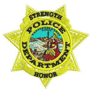 Police Department Badge Star 4 Embroidery Design