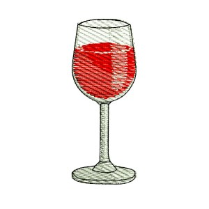 Red Wine Glass Embroidery Design
