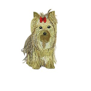 Yorkshire Terrier Yorkie Dog Puppy with a bow Embroidery Design