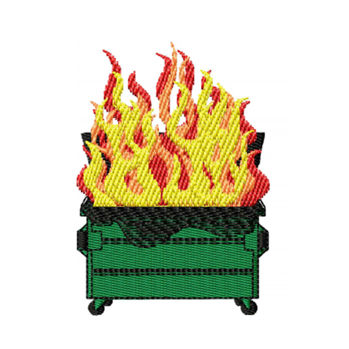 Dumpster Fire Embroidery Design