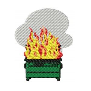 Dumpster Fire With Smoke Embroidery Design