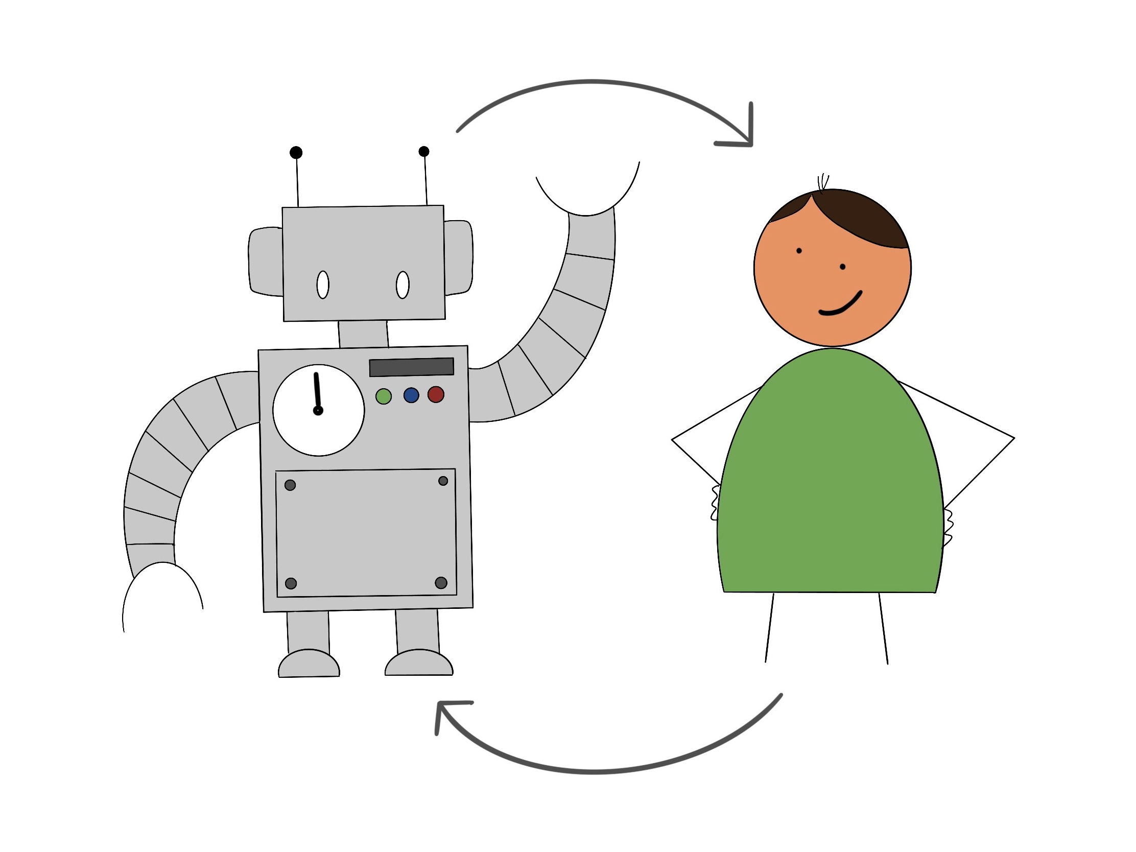cartoon image of a robot and a person