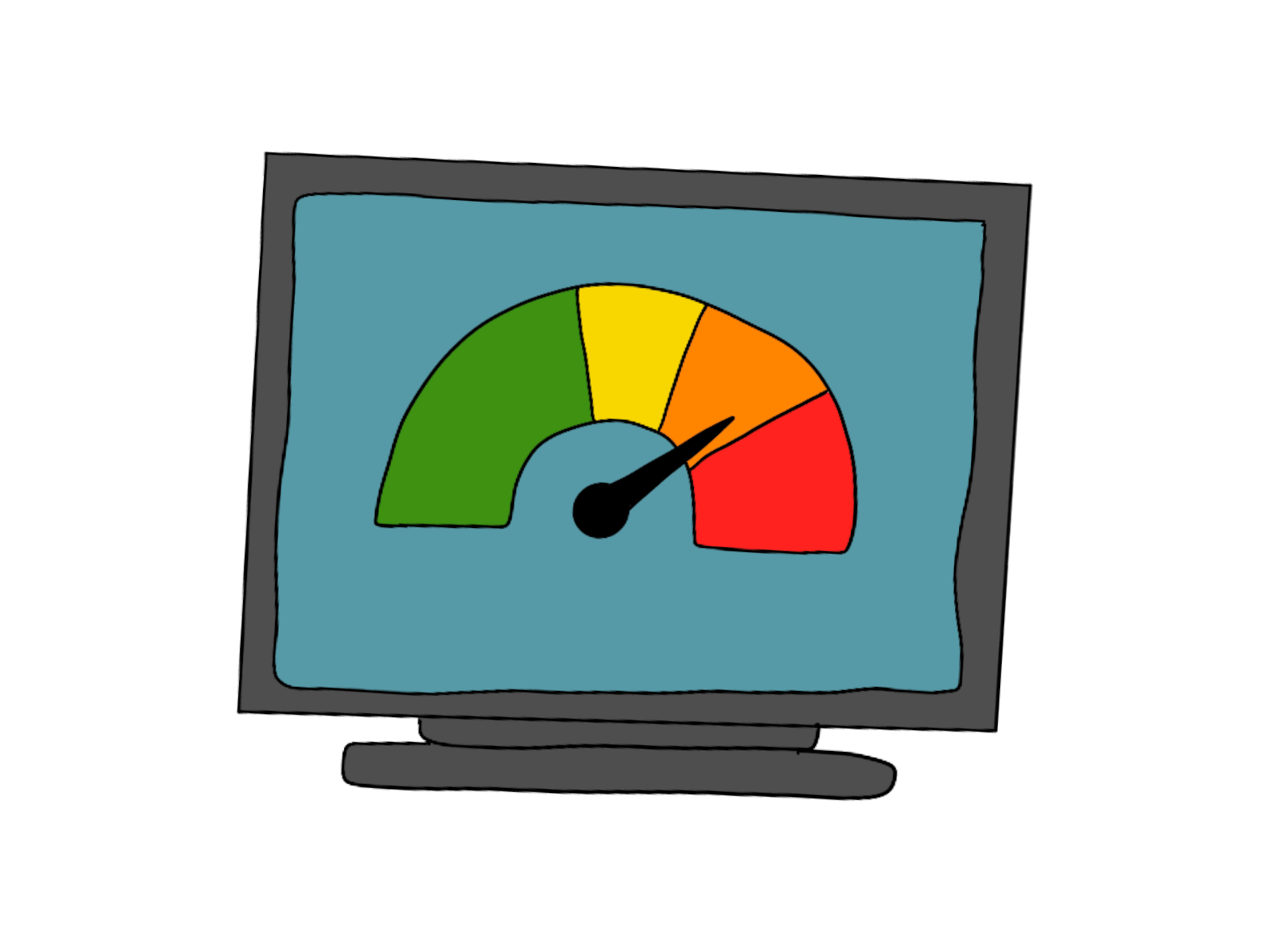 cartoon image of a computer screen showing a ready sign
