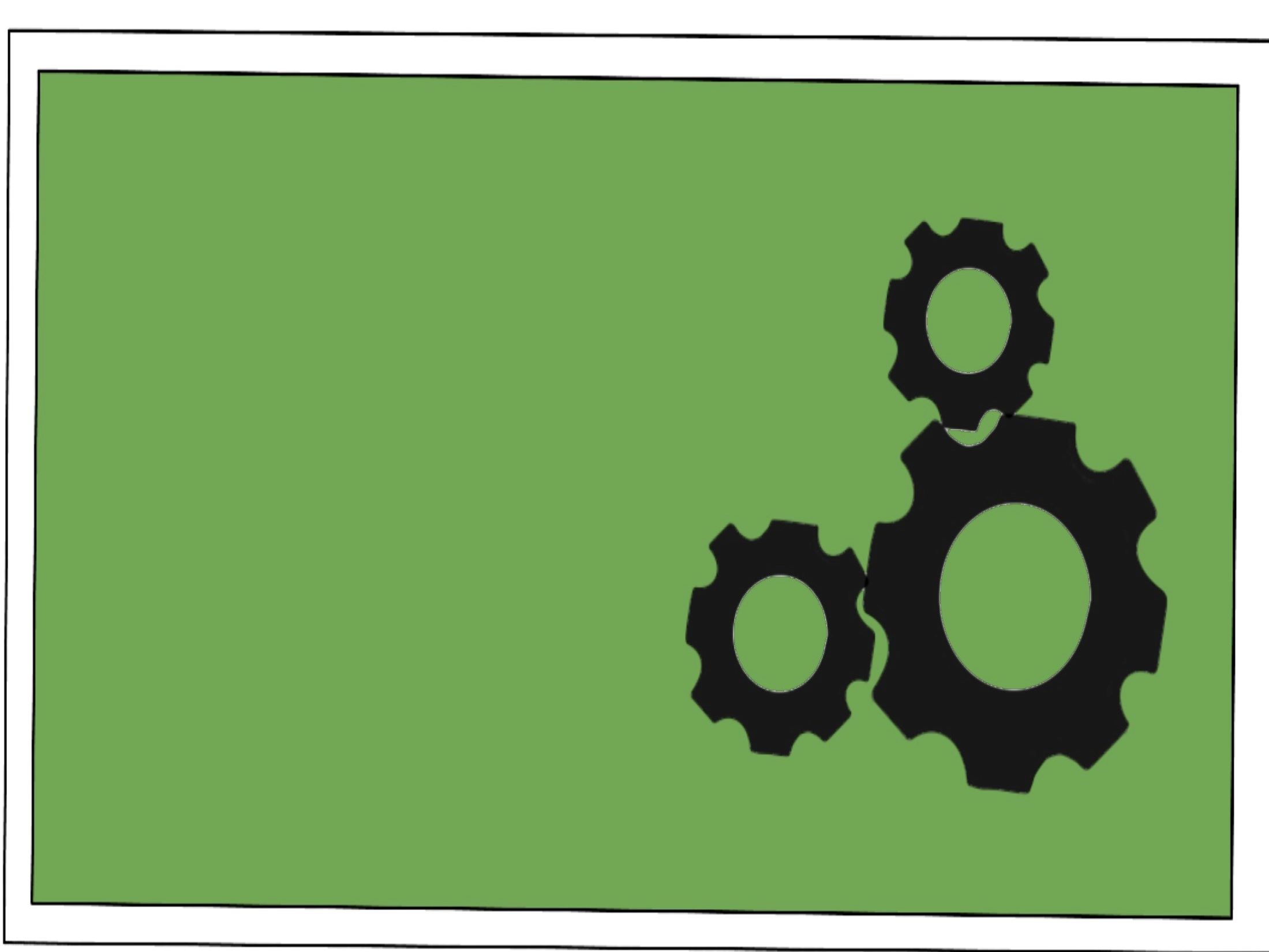 cartoon image of three gears together