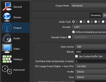 Streamlined Settings panel gives you access to a wide array of configuration options to tweak every aspect of your broadcast or recording.