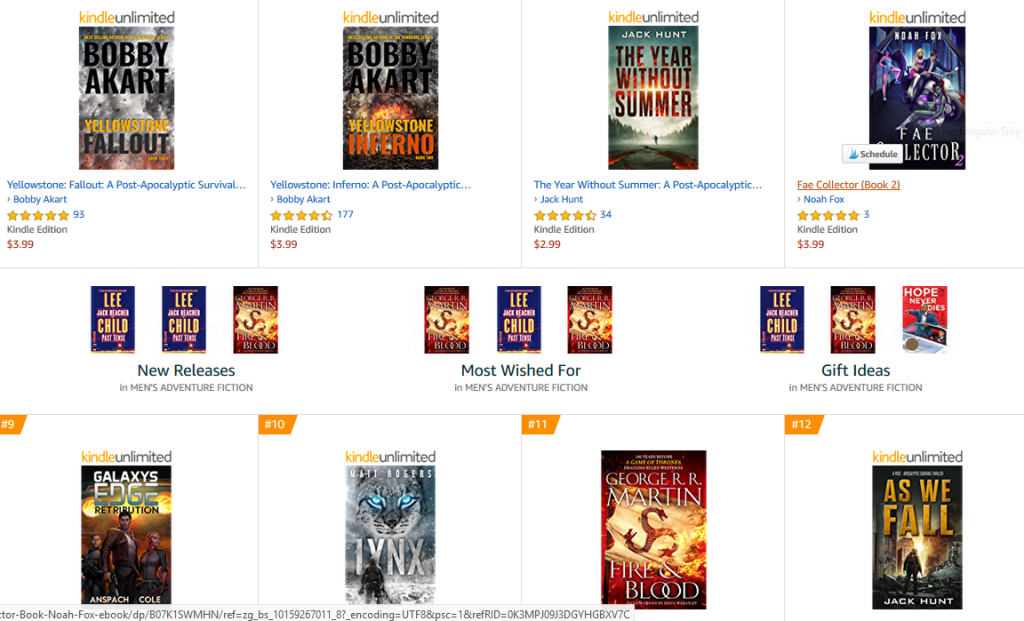Another screen capture from Amazon's best-sellers in this category. Dramatic images, intense color and contrast.