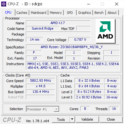 AMD Ryzen 7 1800X Overclocked to 5.8GHz