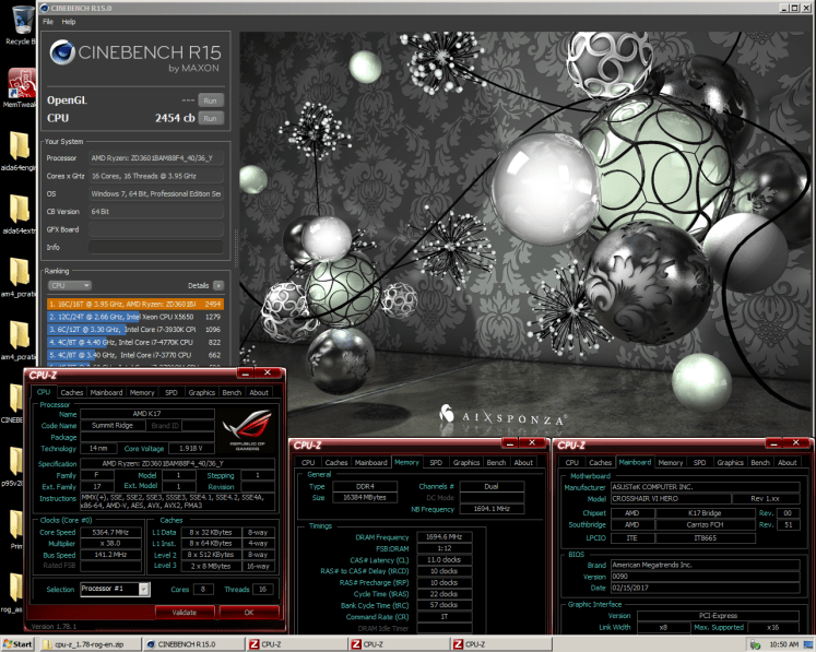 Ryzen 7 1800X Cinebench R15 World Record