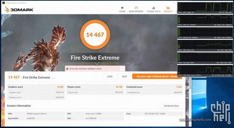 Nvidia GTX 1080 Ti 3DMark Benchmarks - Fire Strike Extreme OC