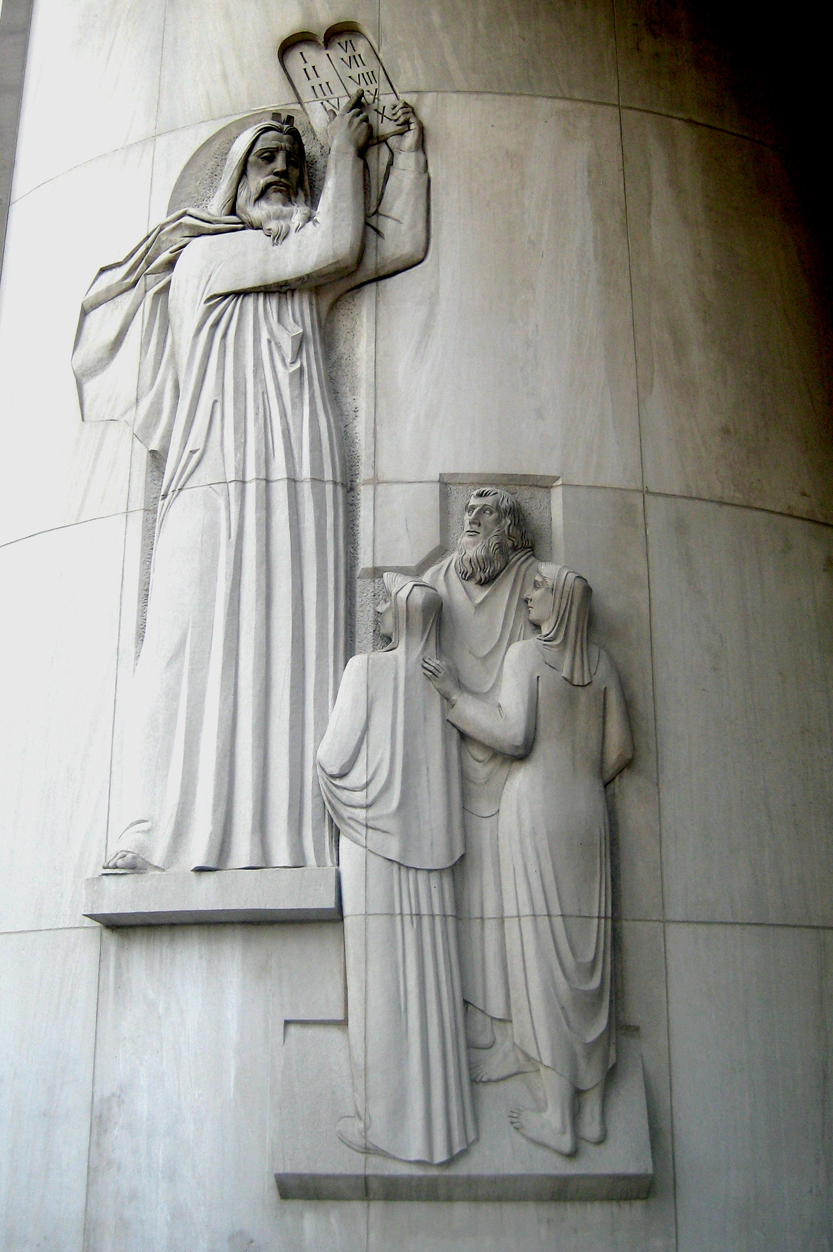 Moses presents the Ten Commandments, New York State Supreme Court Building