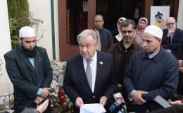 Le secrétaire général des Nations Unies, Antonio Guterres, ici aux côtés des responsables des mosquées de Christchurch