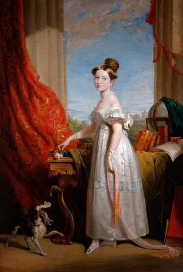 A luxurious painting of a beautiful young queen Victoria, holding a silk sash and rose, with a small spaniel nearby