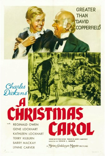 A happy older man with a happy boy on his lap pictured above a black and white scene of a busy London street and bright red letter announcing the title of the film