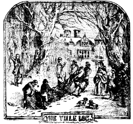 "A black and white etching of people dragging a very large log through the snow with the text ""Yule Log"" underneath"